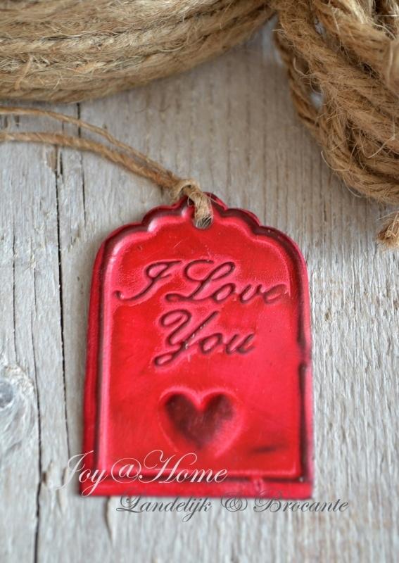 Label zink rood, I love you