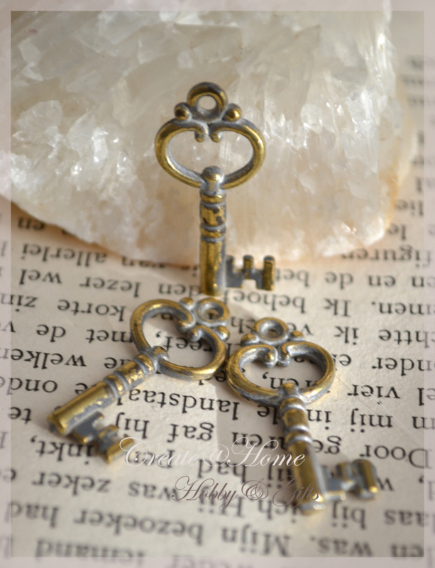 Bedeltje goud/zilverkleur, sleuteltje