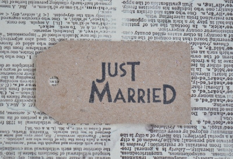 Label Just married, Mr & Mrs of Thank you in vele kleurtjes
