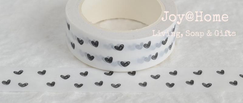 Masking tape wit met zwarte hartjes