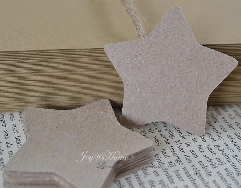 Label ster in vele kleurtjes & afm. met of zonder touwtje & tekst
