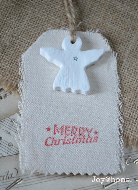 Canvas label stenen engeltje met stempel naar keuze