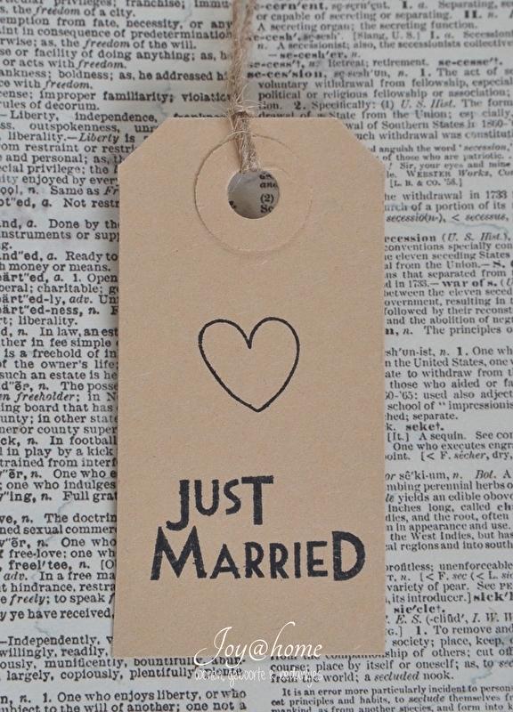 Label Just married met hartje in 7 kleuren