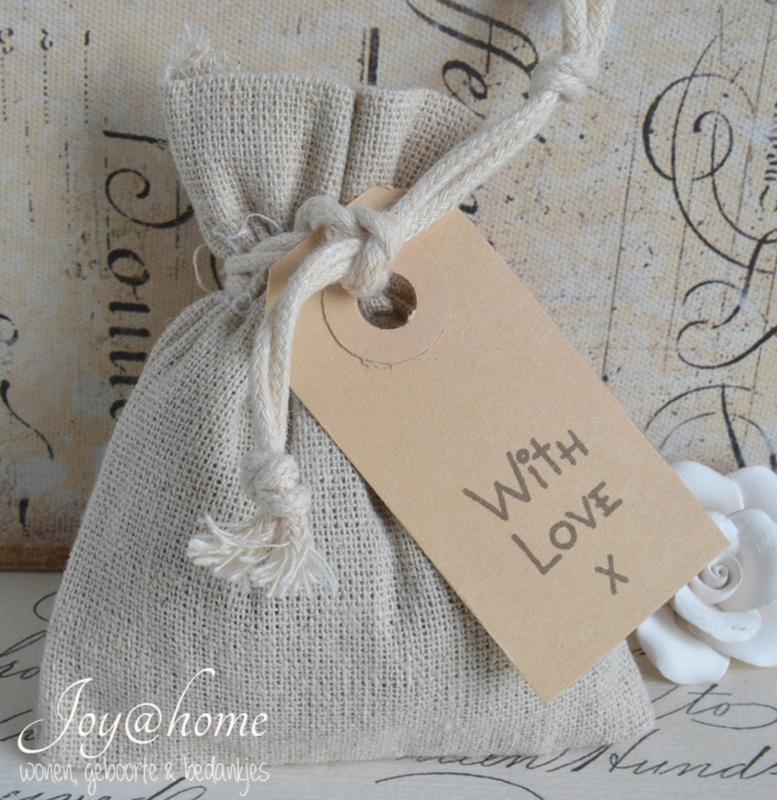 Linnen zakje met lavendel & label stempel naar keuze