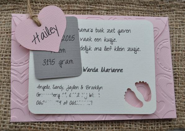 Geboortekaartje 2 labels & hartje in vele kleurtjes & combinaties