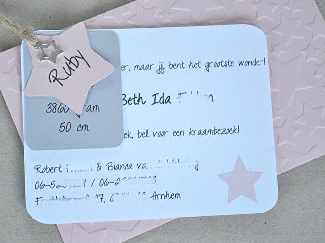 Geboortekaartje - label & roosje in vele kleurtjes & combinaties