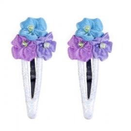 """(Souza for Kids) Haarspeldjes met blauw - paarse roosjes """"Cosette"""""""
