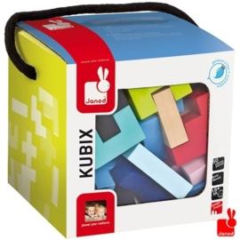 """(Janod) Kubix 50 gekleurde geometrische """"houten blokken"""""""