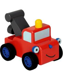 """(Spiegelburg) """"Later als ik groot ben,..."""" Houten Little Town sleepwagen Parker met terugtrekmotor'Brandweerwagen'"""
