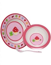 "(Spiegelburg) ""Baby geluk"" Ontbijtset 3-delig roze"