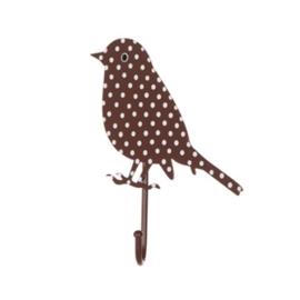 (Sass & Belle) Haakje vogel bruin met stippen
