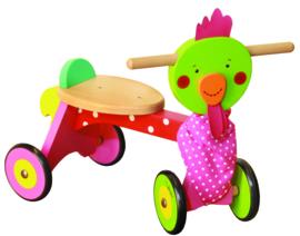 """(Dushi) Houten loopfiets 4 wiel """"Lieve Chick"""""""