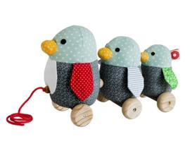 """(Franck & Fischer) Houten trekfiguur pinguins """" Gufo"""""""