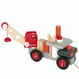 """(Janod) Houten trekfiguur """" Kraanwagen met gereedschap"""""""