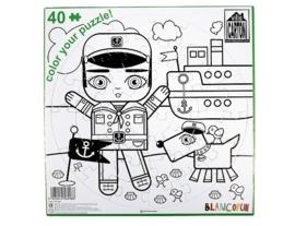 """(Villa Carton) DIY Puzzel om te kleuren """"Kapitein met boot"""""""