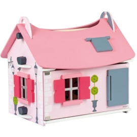 "(Janod) Houten roze poppenhuis klein inclusief 10 accessoires ""Mademoiselle"""
