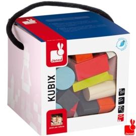 "(Janod) Kubix 50 gekleurde ""houten blokken"""