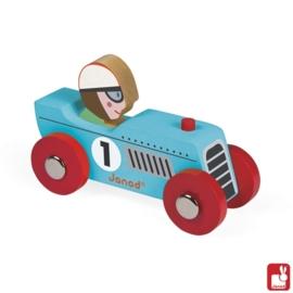 "(Janod) ""Story Racing"" blauwe houten - retromotor"