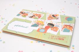 """(Papiergoed) """"Verjaardagskaart"""" 'Gekheid op een stokje'"""