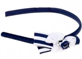 "(Souza for Kids) Haarband blauw - wit met strikje ""Vicky"""