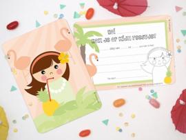 "(Papiergoed) ""Uitnodigingen"" 'Hawai meisje'"