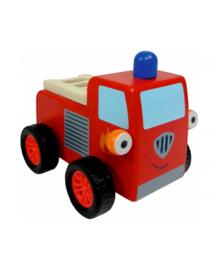 """(Spiegelburg) """"Later als ik groot ben,..."""" Houten Little Town brandweerauto Pepper met terugtrekmotor'Brandweerwagen'"""