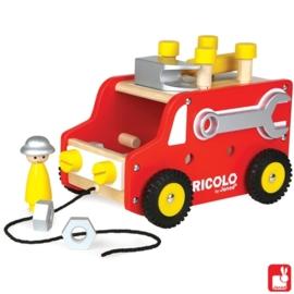 """(Janod) Redmaster houten DIY vrachtauto met gereedschap """"Truck"""" (Bricolo)"""