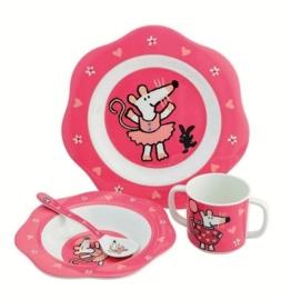 """(Petit Jour Paris) """"Muis"""" 4-delige set roze"""