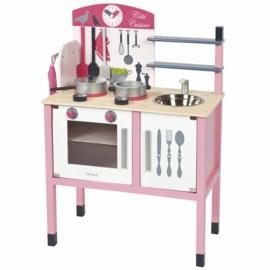 """(Janod) Houten keukentje roze inclusief 8 accessoires """"Mademoiselle"""""""