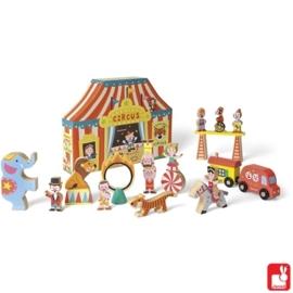 "(Janod) Houten Story Box ""Het circus"" 19-delig"