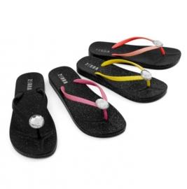 """(Zebra Trends) Slippers volwassenen """"Glitter zwart met diamant"""""""