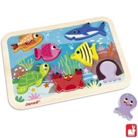 "(Janod) Houten puzzel Chunky ""Onderwaterwereld"""