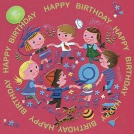 """(Dotcomgiftshop) """"Dansende kinderen"""" Kaart Happy Birthday met envelop"""