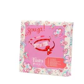 "(Souza for Kids) Maak je eigen haarbanden rood & roze ""Tiara knutselset"""