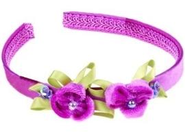 """(Souza for Kids) Haarband paars met velourse bloemen """"Colette"""""""