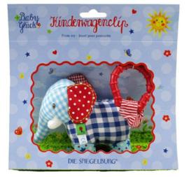"""(Spiegelburg) """"Babygeluk"""" Kinderwagenclip met rammelaar 'Olifantje'"""