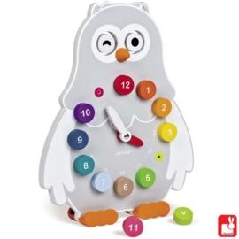"(Janod) Houten klok uil dubbelzijdig ""Owly Clock"""