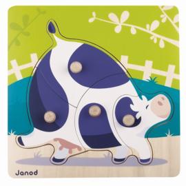 """(Janod) Houten knoppuzzel """"Koe"""""""