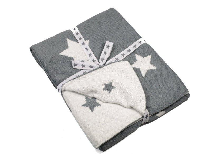 """(Spiegelburg) """"Babygeluk"""" Dekentje 2- zijdig grijs met sterren"""