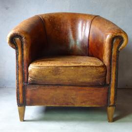 Vintage schapenleren club chair