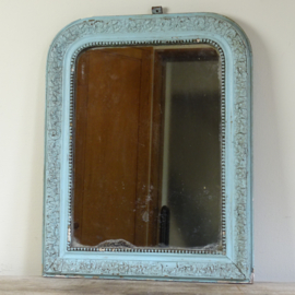 Antique pale blue french mirror