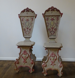 Handcarved and Handpainted wooden chairs