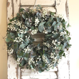 Wreath of eucalyptus and gypsophila