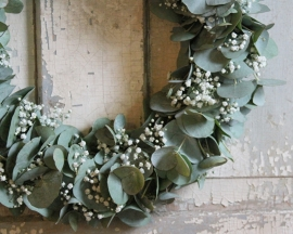 Eucalyptus wreath with Gypsophila