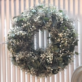Wreath of eucalyptus, gypsophila and tillandsia