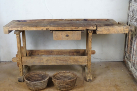 Antique oak wooden workbench