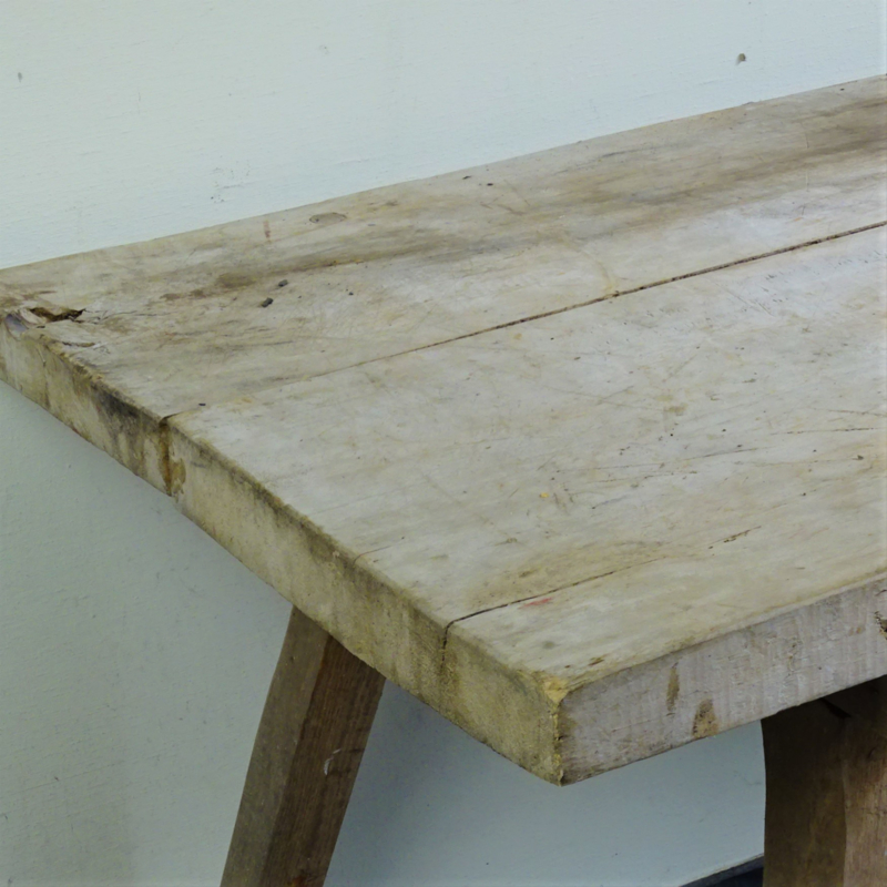 Antique wooden slaughter table