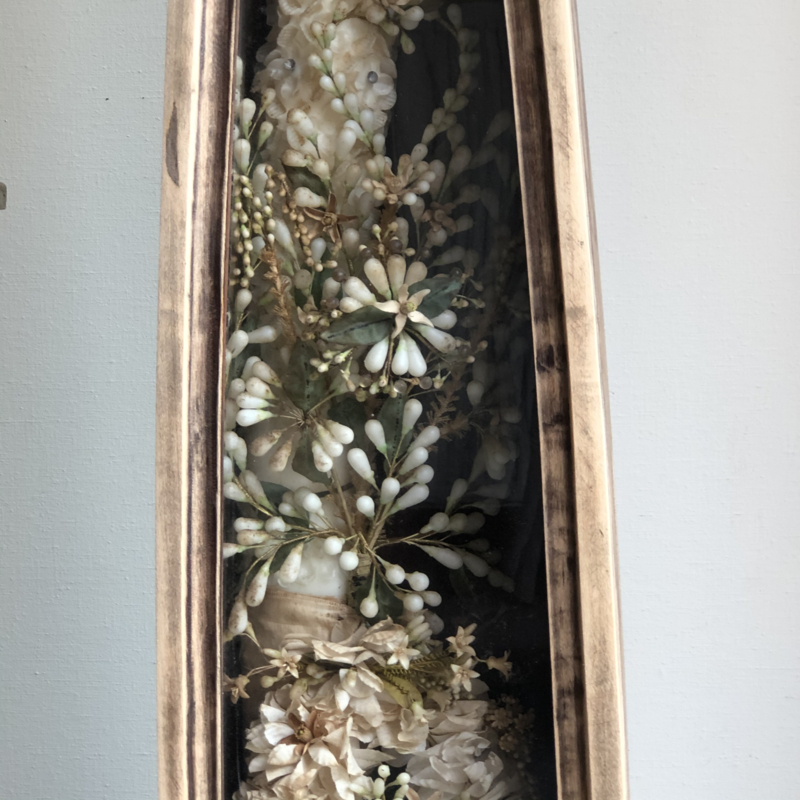 Antique French christening candle in display case