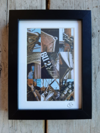 Foto juweeltjes By Cick. 9-luik postertje in zwart lijstje.  20 x 15 cm