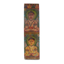 Antieke schilderij Boeddha op houten paneel.